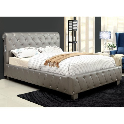 Furniture of America Volta Inspired Platform Bed with Bluetooth Speakers - Silver