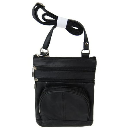 4f7d18a87b Roma Leathers Genuine Leather Multi-Pocket Crossbody Purse Bag (Black) -  Walmart.com