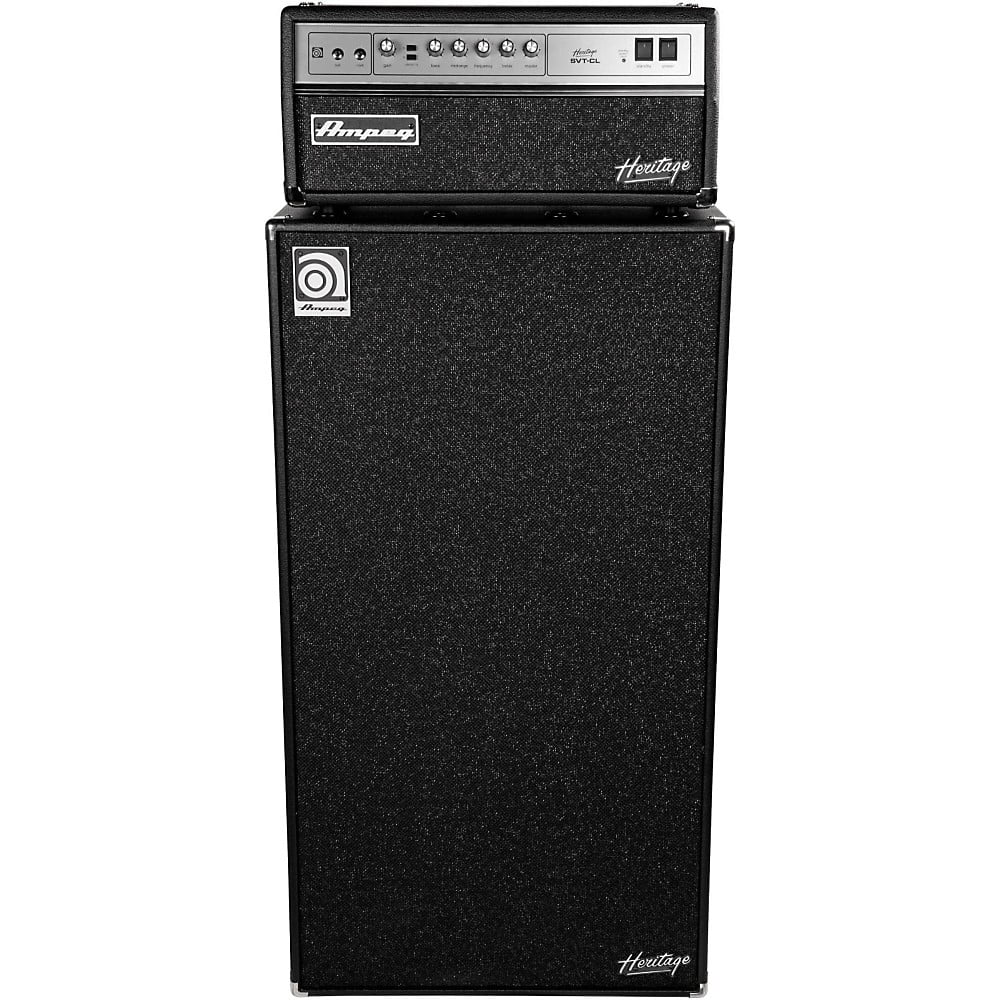 Ampeg Heritage SVT-CL 300W Tube Bass Amp Head with 8x10 800W Bass Speaker Cab by Ampeg