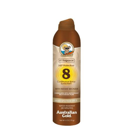 Australian Gold SPF 8 Spray Sunscreen w/ Instant Bronzer, 6
