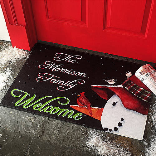 Personalized Snowman & Cardinal Doormat, Multiple Sizes