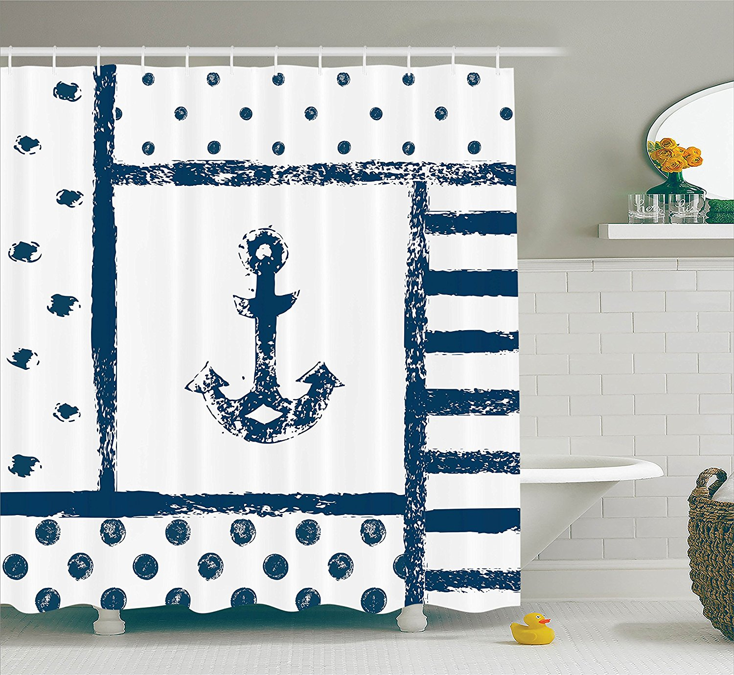 Anchor Decor Shower Curtain Set By Grunge Murk Boat Anchor Silhouette With Polka And Stripe Retro Patterns Navy Theme Bathroom Accessories 75 Inches By Ambesonne Walmart Com Walmart Com