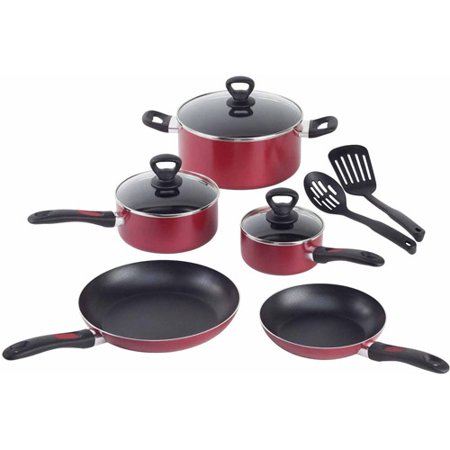 T-Fal Get a Grip 10-Piece Cookware Set, Aluminum