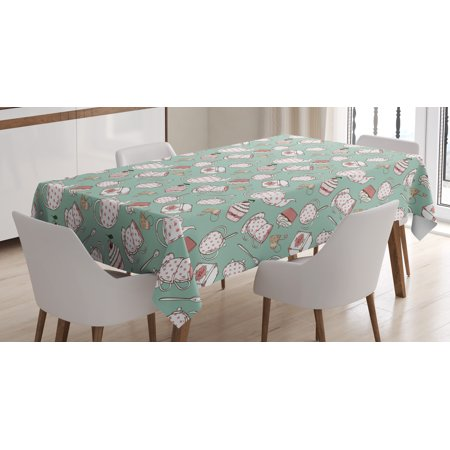 Tea Party Tablecloth, Polka Dots on Teapots and Cups Cupcake with Cherry on Top Teabag English, Rectangular Table Cover for Dining Room Kitchen, 60 X 84 Inches, Almond Green Coral, by Ambesonne
