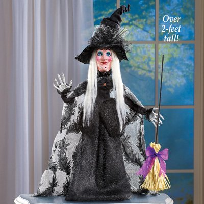 winston inc Black Dress Sparkling Glittered Tulle Spider Web Hat Feathered Accented Cape Broom Halloween Witch Stands On Base ( - Winstons Dallas Halloween