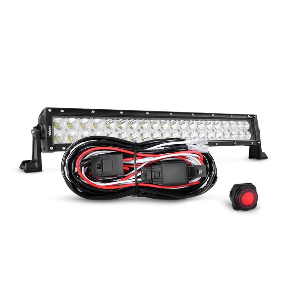Nilight 22 Inch 120W Spot Flood Combo LED Light Bar Led Work Light Off Road Light Driving Light With Off Road Wiring Harness, 2 Years Warranty