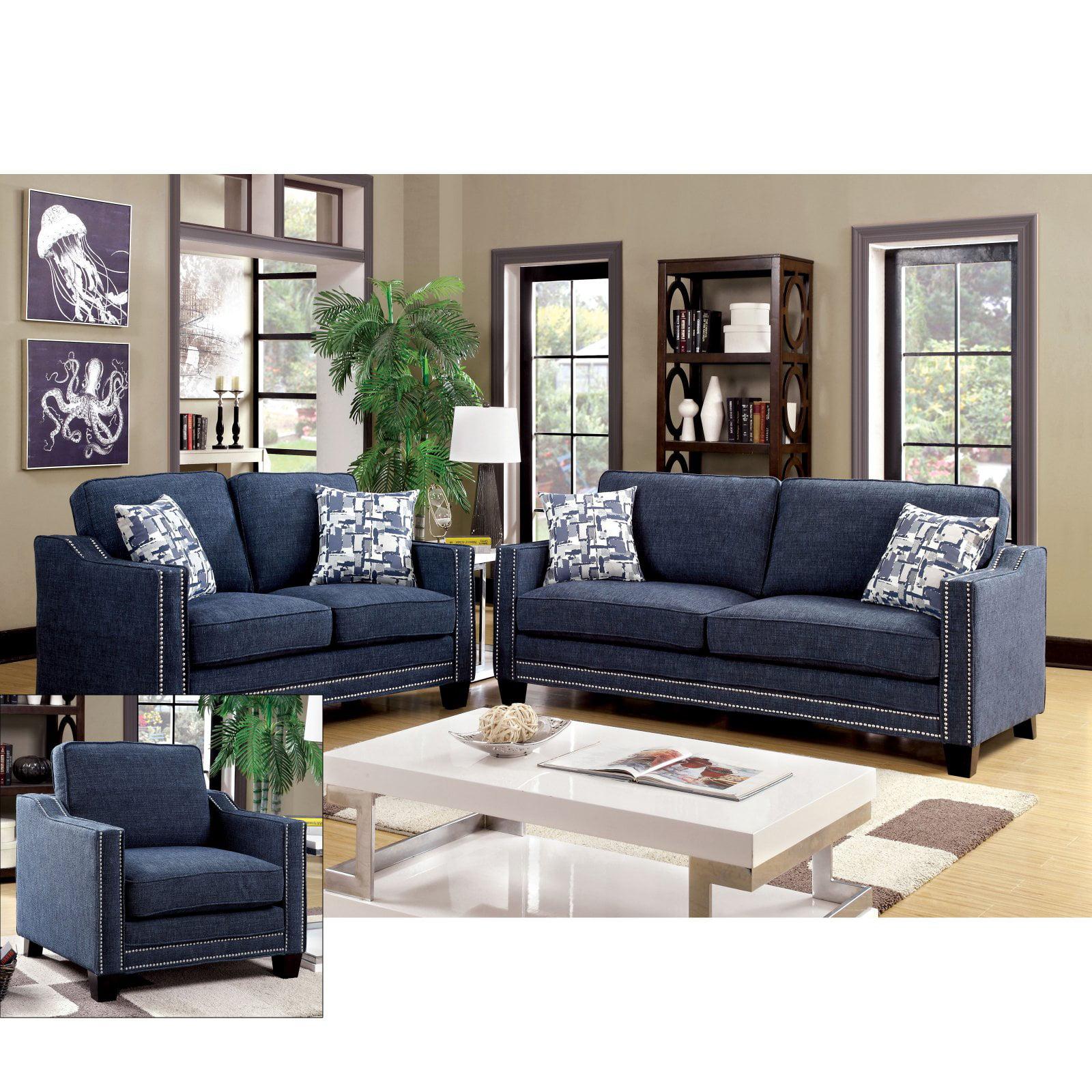 Furniture Of America Polin 3 Piece Studded Chenille Sofa Set