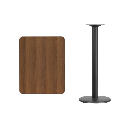 """Bowery Hill 24"""" x 30"""" Restaurant Bar Table in Black and Walnut - image 1 of 2"""