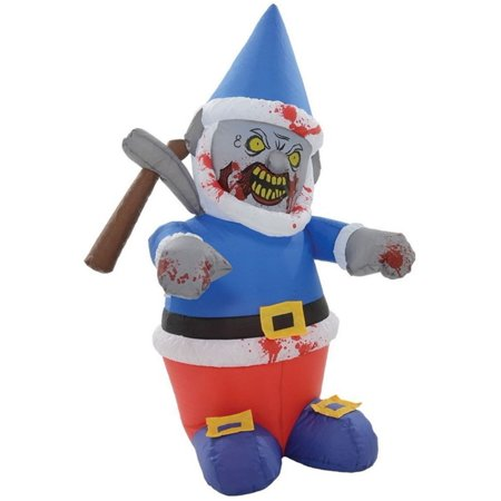 5 39 tall inflatable zombie gnome icepick halloween yard for Gnome 3 decoration fenetre