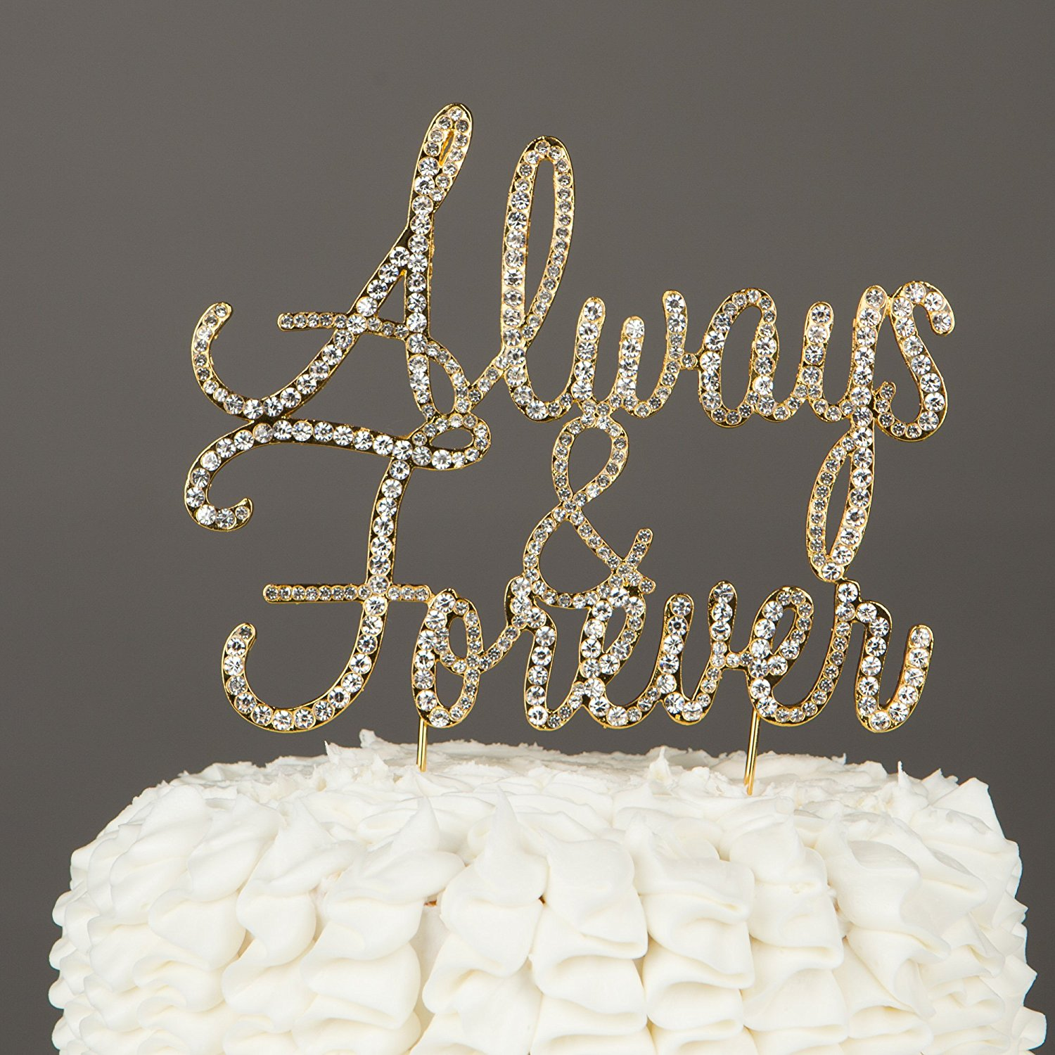 Always and Forever Wedding Cake Topper, Gold Rhinestone Romantic Decoration (Always & Forever) (Gold)
