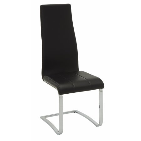 Black Faux Leather Dining Chair With Chrome Legs Set Of 4