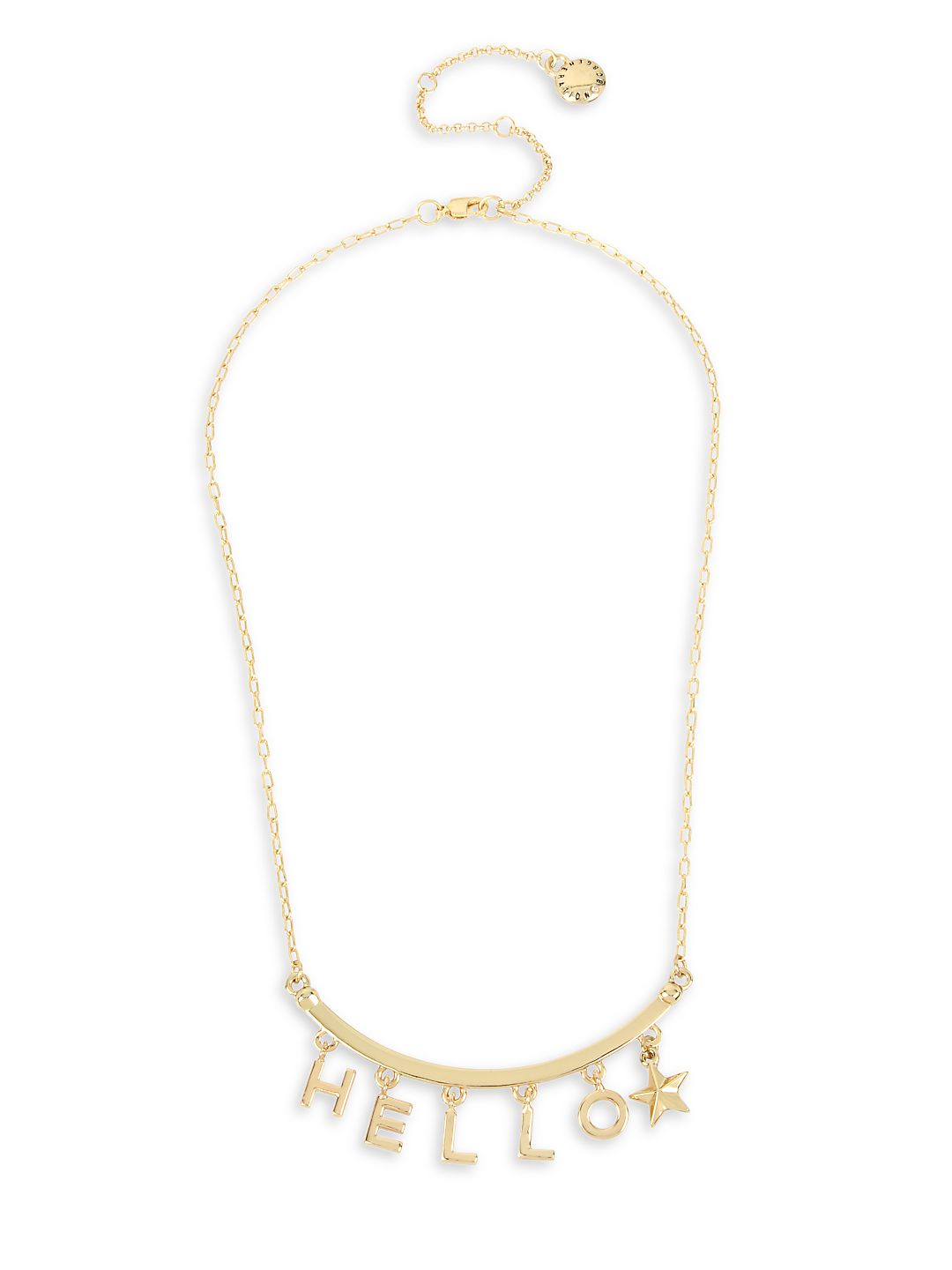 HELLO Boxed Goldtone Frontal Necklace