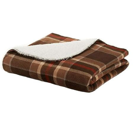 Sonoma Brown Plaid Sherpa Fleece Micromink Plush Throw ...