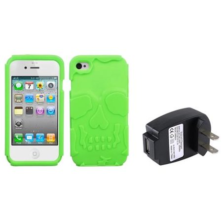 iPhone 4 / 4S Electric Green Skullcap Base Hybrid Case by Insten + USB Travel Charger (Light Green Iphone 4s Case)