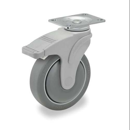GRAINGER APPROVED Swivel Plate Caster w/Total-Lock,TPR,5 in,325 lb, P17S-RP050K-12-TB-001
