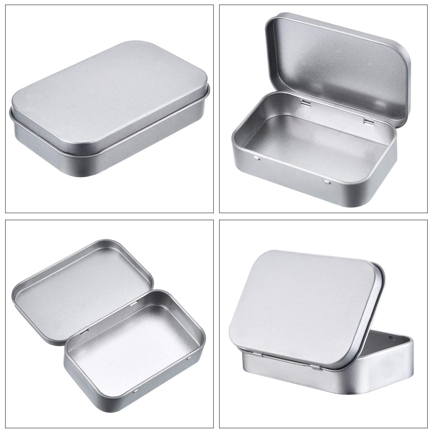 BELUPAI Mini Portable Metal Rectangular Empty Hinged Tins Small Storage Kit Box Containers Mini Portable Empty Hinged Tins Small Storage Kit Box Containers