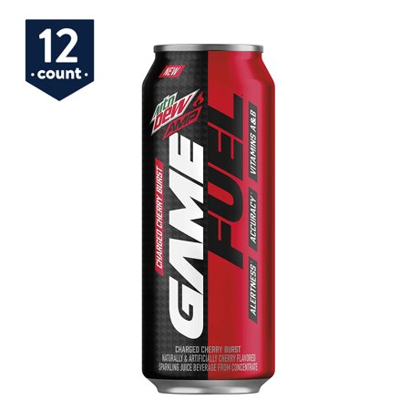 MTN DEW AMP GAME FUEL, Charged Cherry Burst, 16 oz Cans, 12 Count