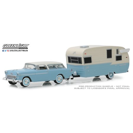 Chevrolet Hitch - GREENLIGHT 1:64 HITCH & TOW SERIES 16 - 1955 CHEVROLET NOMAD AND SHASTA AIRFLYTE WITH AWNING (LIGHT BLUE/WHITE) 32160-A