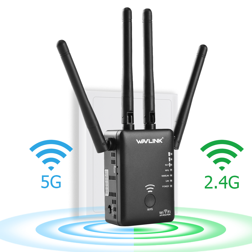 Wavlink AC1200 WIFI Repeater Range Extender Mini Wireless Router Wifi Booster Signal Amplifier Dual Band 2.4G/5G with 4 High Gain External Antennas- Black
