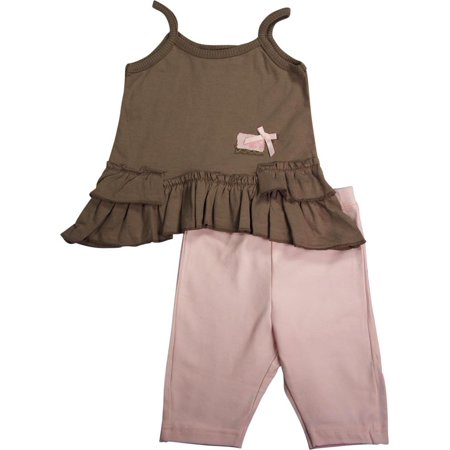 Mish Baby Infant Newborn Girls 2 Piece Sleeveless Capri  Pant Set - 100% Cotton, 16066 brown/pink / 12Months