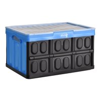 Folding Plastic Storage Crate with Lid Blue