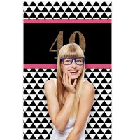 "Chic 40th Birthday - Birthday Party Photo Booth Backdrops - 36"" x 60"""