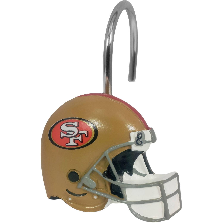 Sports shower curtain hooks - Nfl San Francisco 49ers Decorative Bath Collection 12pc Shower Hooks Walmart Com