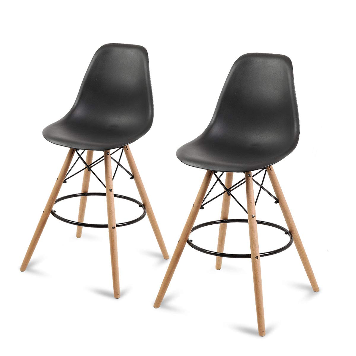 Set of 2 Counter Height High Island Stool Patio Dining Bar Pub Chairs, Black