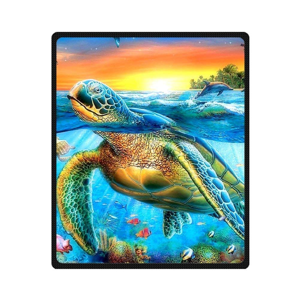 CADecor Turtle Fishes Dolphin Blue Sea Coral Fleece Throw Blanket 58x80 inches