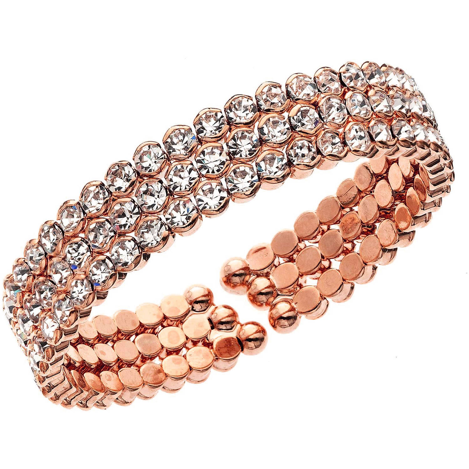X & O 14kt Rose Gold-Plated Three-Row Honeycomb Cuff Bracelet, One Size
