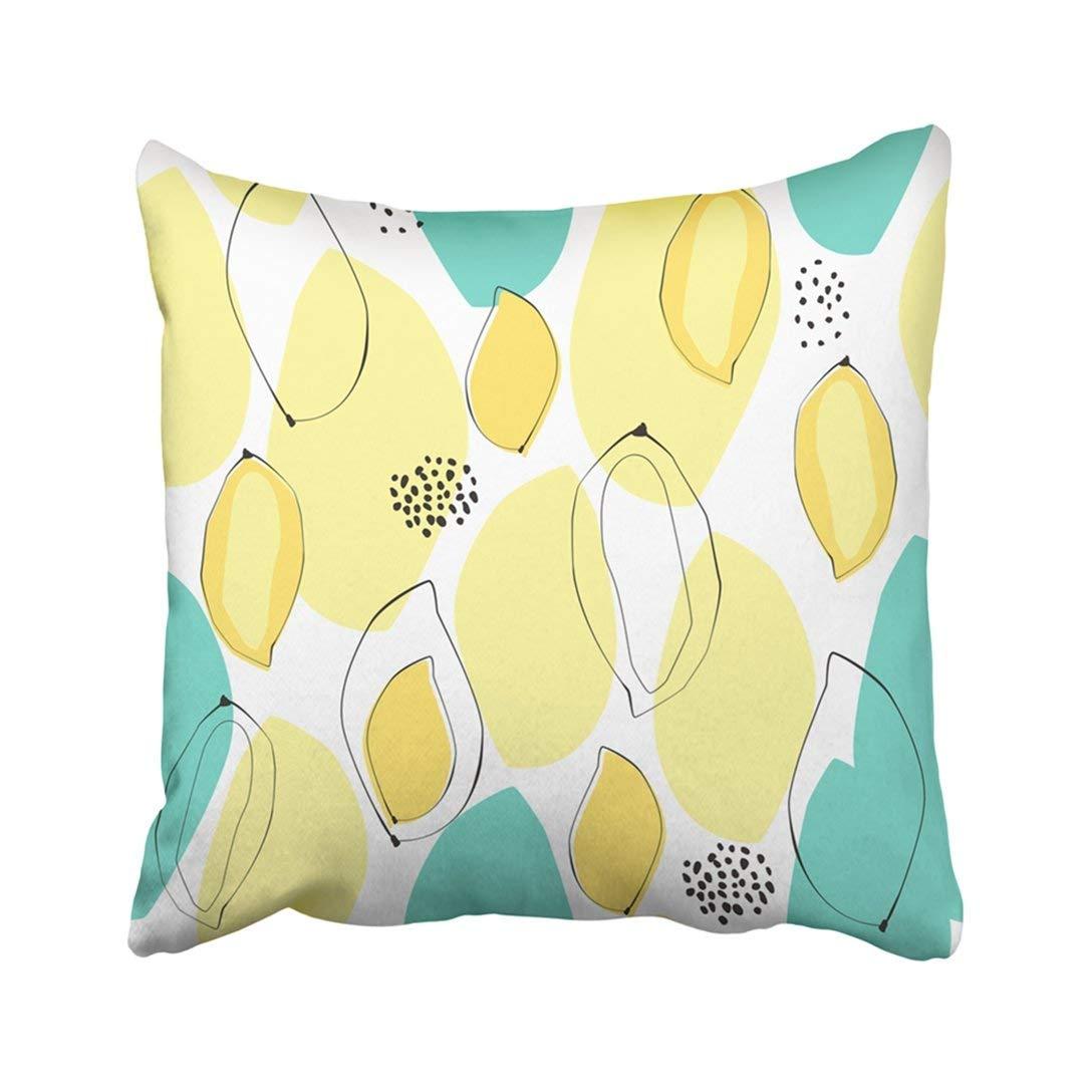 WOPOP Black Minimal Abstract Mango Beautiful Concept Summer Mood Green Tropical Dots Drawn Fresh Pillowcase Pillow Cover 20x20 inches