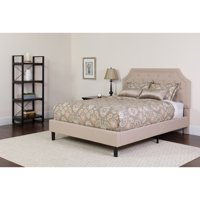 Flash Furniture Brighton Tufted Upholstered Full Size Platform Bed in Beige Fabric