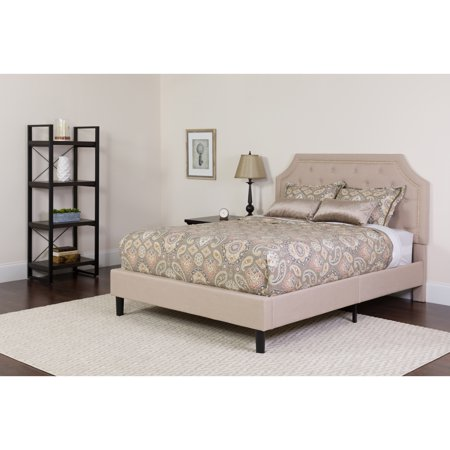 Flash Furniture Brighton Tufted Upholstered Full Size Platform Bed in Beige (Satin Beige Bed Frame)