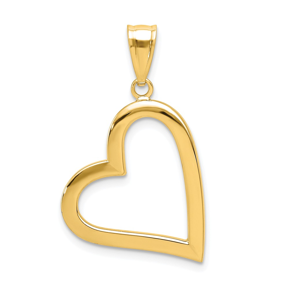14K Yellow Gold and Rhodium Hollow Heart Pendant