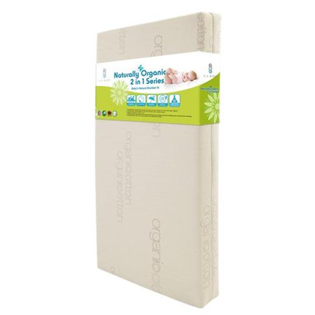 L.A. Baby MT-4860-GORG Babys Natural Slumber VI 2 in 1 Crib Mattress with Blended Organic Cotton Cover, Cool Gel Memory Foam & Seamless (Cool Cotton Blends)