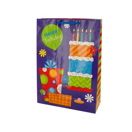 Bulk Buys Happy Birthday Purple Floral Gift Bag Case Of 24