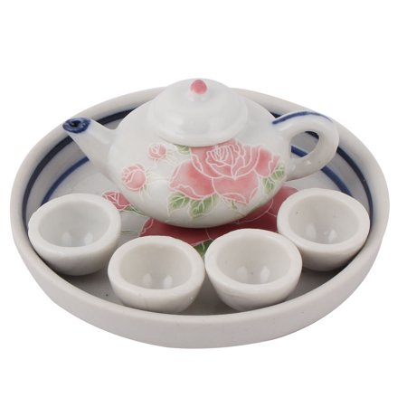 Home Desktop Ceramic Flower Print  Teapot Cup Plate Tea Decor Ornament Set for Christmas ()