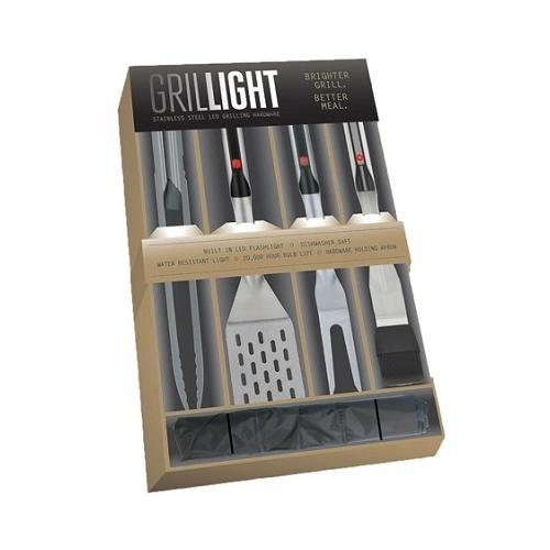 Grillight 1300821 4 Piece Stainless Steel LED Grilling Set with Apron