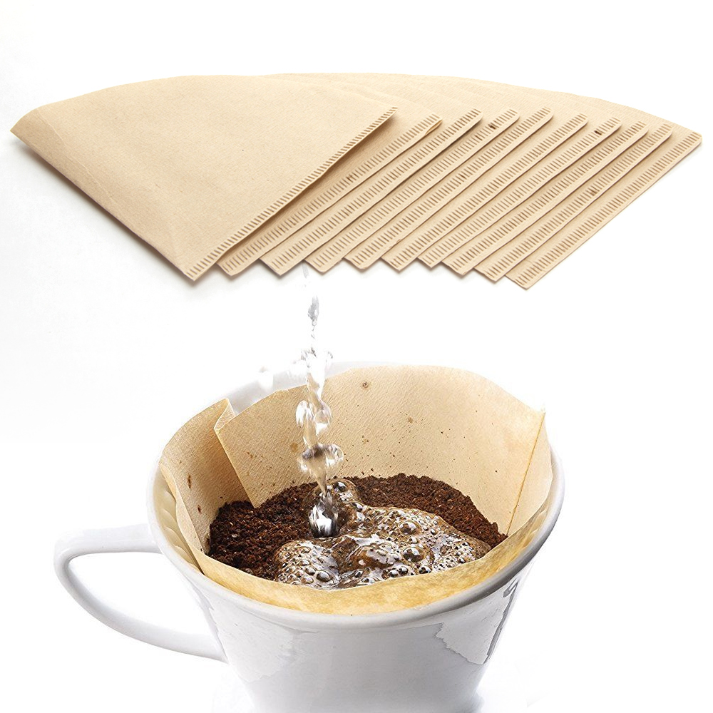 100ct Disposable Unbleached Coffee Filters Pour Over Ground Brew Leaf Tea Brewer by HAROLD IMPORTS