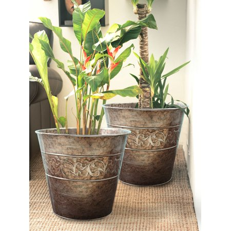 Gardening Flower Pots Galvanized In Old Silver Finish Outdoor Planters 13 Inch Pack 2 Mothers Day Gift