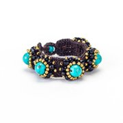 Wink International Handmade Turquoise, Crystal and Brass Bead Wax Cord Bracelet (Thailand)