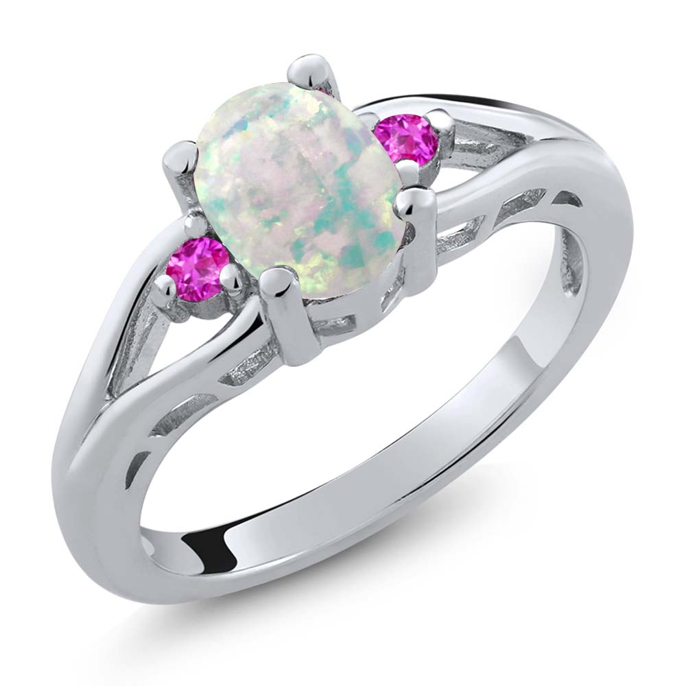 1.15 Ct Oval White Simulated Opal Pink Sapphire 925 Sterling Silver Ring by
