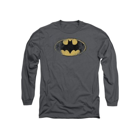 Batman DC Comics Destroyed Logo Adult Long Sleeve T-Shirt Tee (Adult Batman Shirt)