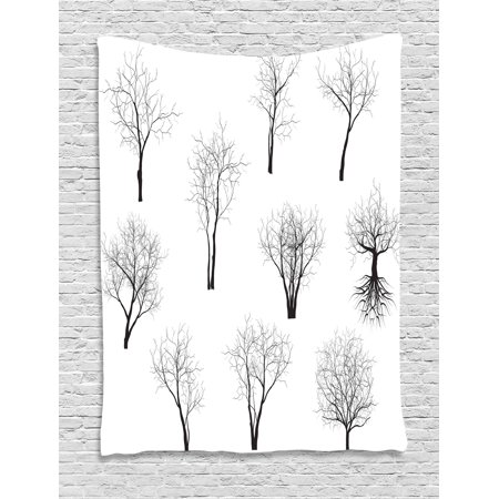 Apartment Decor Tapestry, Spooky Horror Movie Themed Branches Forest Trees Nature Art Print , Wall Hanging for Bedroom Living Room Dorm Decor, 40W X 60L Inches, Black and White, by Ambesonne