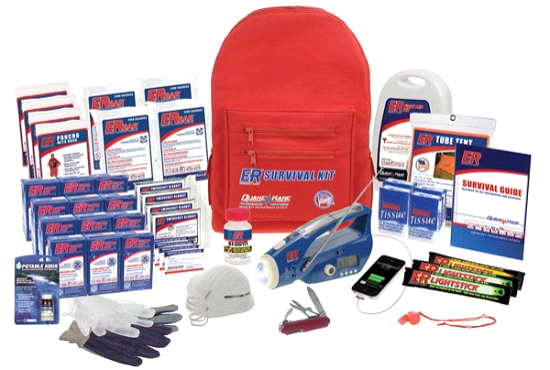 Quake Kare 4 Person Ultimate Deluxe Backpack Survival Kit by