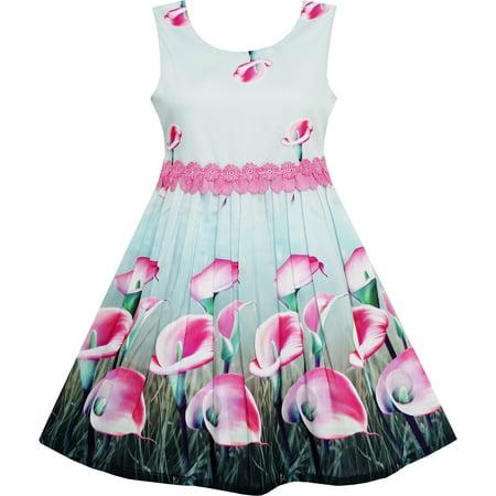 Sunny Fashion Girls Dress Pink Calla Lily Flower Garden Print Lace Waist Size 4 12