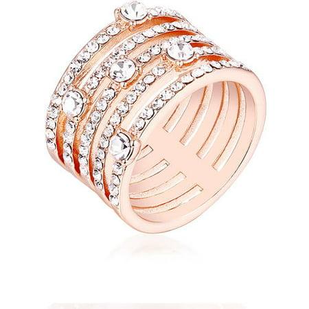 - Swarovski Elements 18kt Rose Gold-Tone Ring