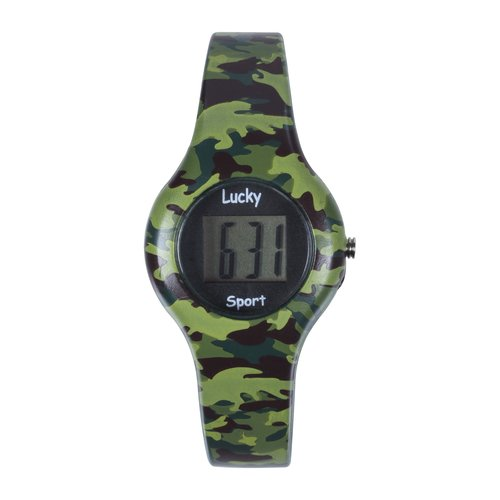 Lucky Kids Water-Resistant LCD Watch, Green Camouflage