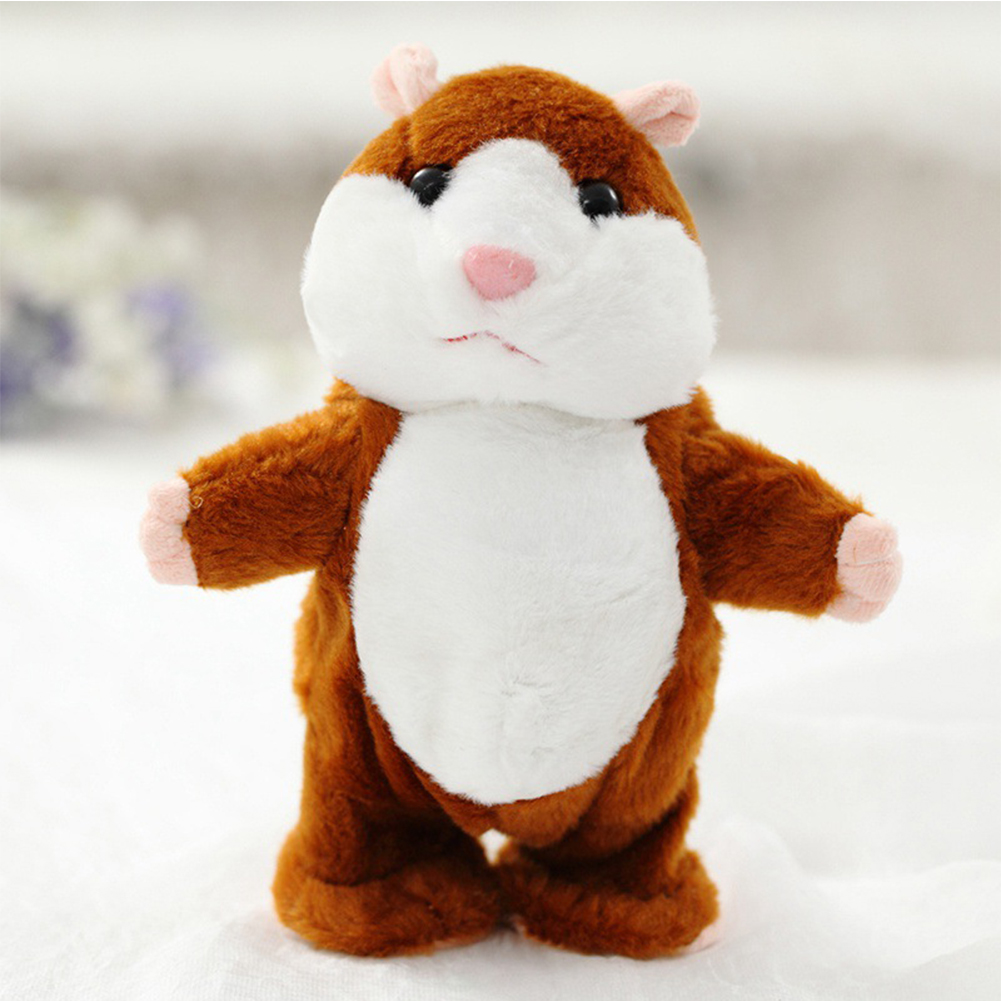 Lovely Talking Plush Hamster Toy, Can Change Voice, Record Sounds, Nod Head or Walk, Early Education for Baby, Different Size for Choice Style:deep brown and walking Height:18cm - image 5 of 5