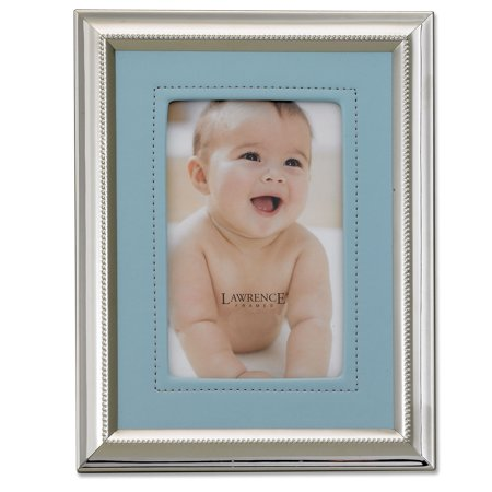 Silver Plated 4x6 Metal Picture Frame - Blue Faux Leather Mat
